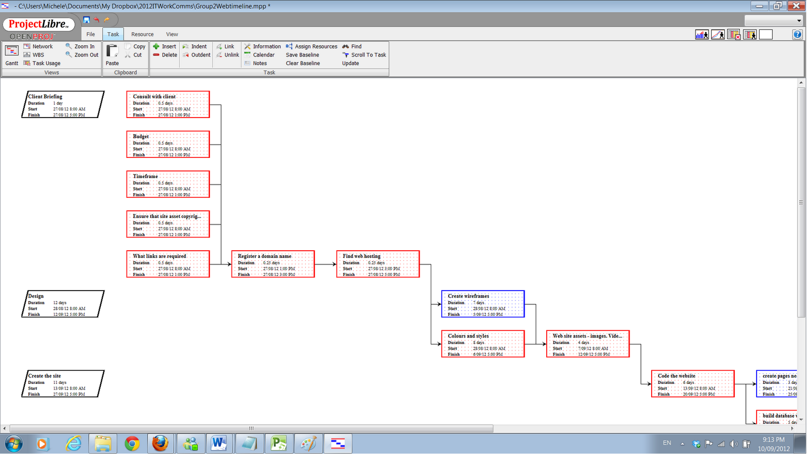 project network diagram critical path sonata form certificate iv dmt workplace communications 2 week 8