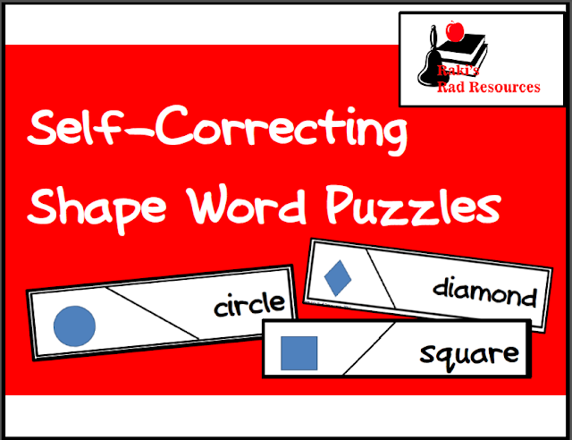 Free self correcting puzzle to practice shape words - great for math centers or literacy centers - free download from Raki's Rad Resources.