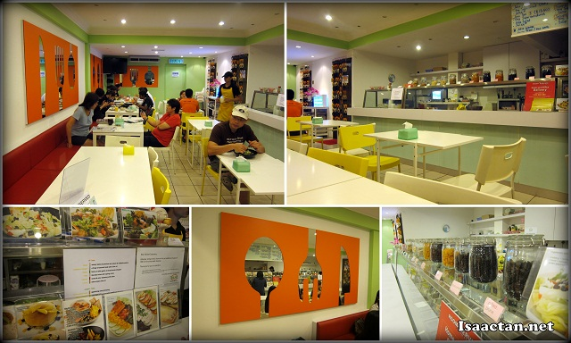 The brightly lit and colourful interior of The Salad Bar
