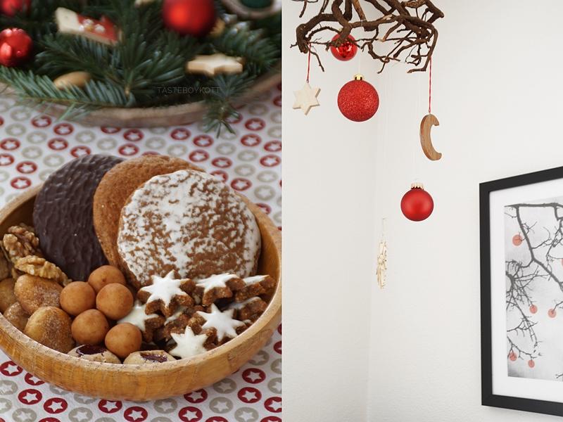 Weihnachtsdeko klassisch traditionell modern mit rot, Holz, grau, weiß. Wurzel mit roten Kugeln und Sternen aufhängen und dekorieren. Schale mit Plätzchen und Tischläufer mit Sternen.