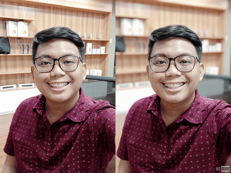 Selfie indoor with and without bokeh