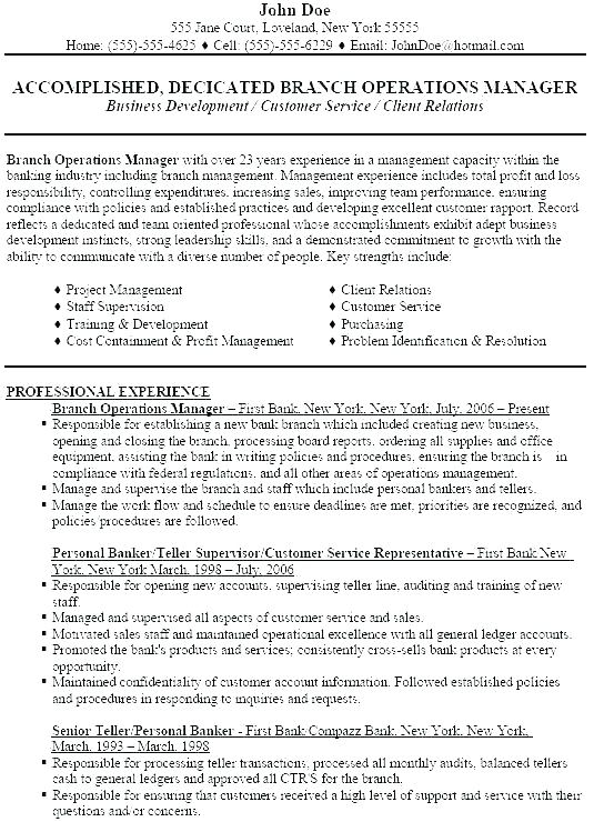 Personal Banker Resumes - Resume Templates