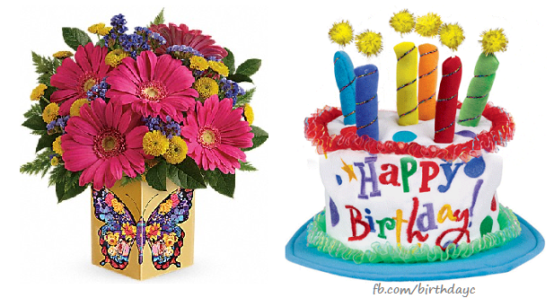 Birthday greeting card with flowers