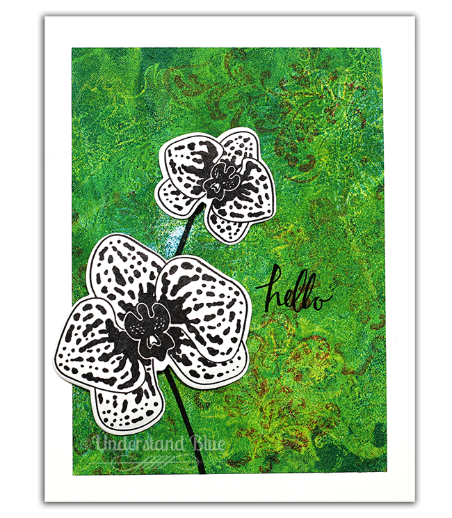 Climbing Orchid card with ink layered background by Understandblue