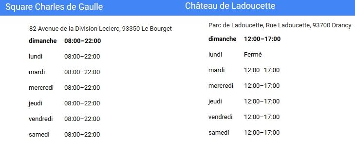 horaire d'ouverture des parcs de Drancy et du Bourget