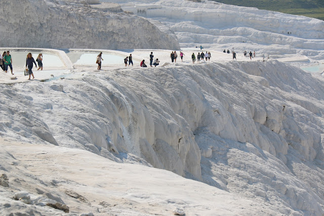The nature wonder of Pamukkale Thermal Pools or also known as Travertines Terraces which attracts many tourists to Pamukkale in Turkey