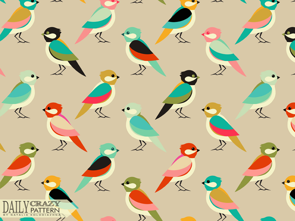 Colorful art print with fancy birds