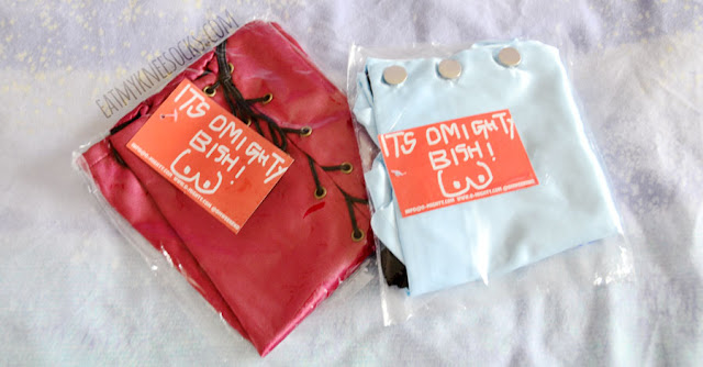 Review of the silk kitten light pastel baby blue skort shorts and Xtina silky maroon lace up skirt from O-Mighty / OMighty / Omweekend.