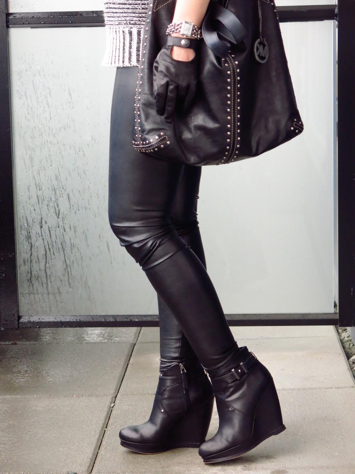 vegan leather leggings, wedge booties, Michael Kors bag, driving gloves