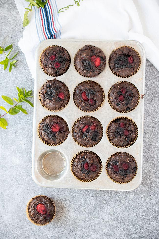Double Chocolate Berry Muffins (Vegan)