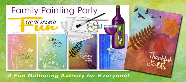 Annie Lang shares photos and ideas from her Sip and Splash Paint Party Family Event.  Find the art to these designs at https://creativemarket.com/annielang/1599068-Annies-In-the-Moods-Clipart?u=annielang