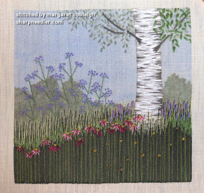 Under the Silver Birch (designed by Jo Butcher): Adding some Pink Flowers