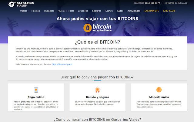 Garbarino viajes vende pasajes en #Bitcoin