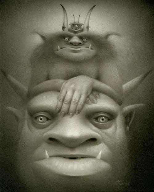 01-Krampus-Stacking-Travis-Louie-Surreal-Illustrations-of-Fantasy-Beings-www-designstack-co