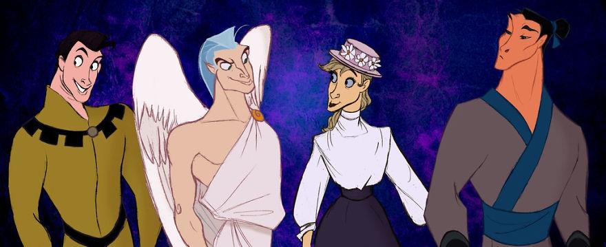 14-Disney-Horses-Samson-Pegasus-Frou-Frou-and-Khan-Alaina-Bastian-s0alaina-Drawings-of-Disney-Animals-with-a-Second-Life-as-Humans