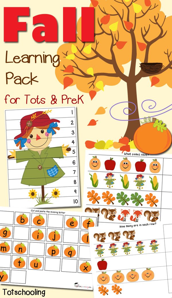 Fall Learning Pack for Toddlers  Preschoolers Totschooling