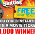 Win a Free Movie Ticket Instantly From Skittles - 19,000 Winners. Limit One Entry Per Day, Ends 7/15/18