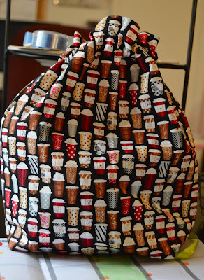 knitting project bag decorated with coffee cups from https://www.etsy.com/shop/TheGuyWhoSews