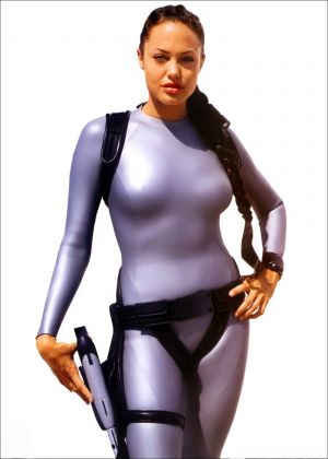 Angelina Jolie in her silver catsuit in Lara Croft Tomb Raider: The Cradle of Life movieloversreviews.filminspector.com
