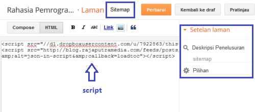 cara membuat daftar isi peta situs blog