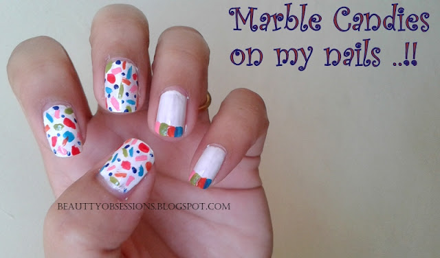 Marble Candies On My Nails - NailArt Inspired By HOLI