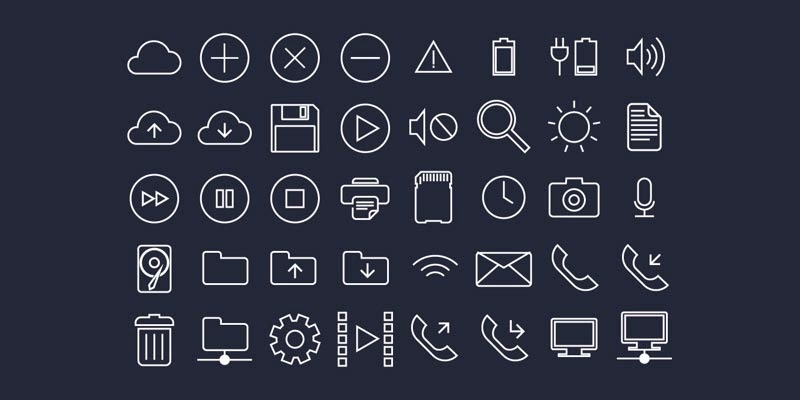 Wireframe Flat UI System Icons