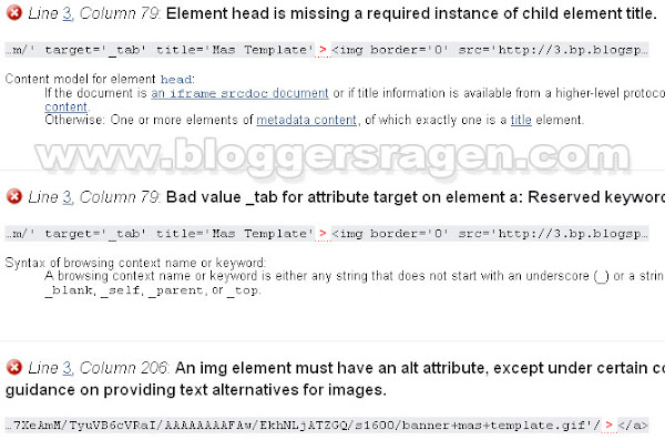 Validasi Element Head Is Missing a Required Instance Of Child Element Title