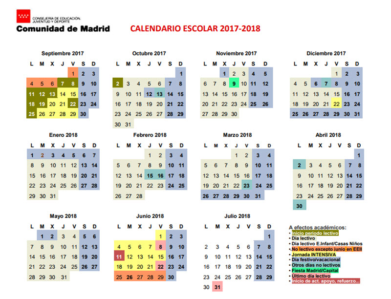 Calendario Escolar Madrid 2020 2019.Calendario Escolar De La Comunidad De Madrid Curso 2017 2018 Es
