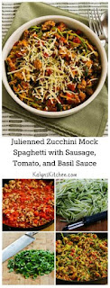 Julienned Zucchini Mock Spaghetti with Quick Sausage, Tomato, and Basil Sauce [from KalynsKitchen.com]