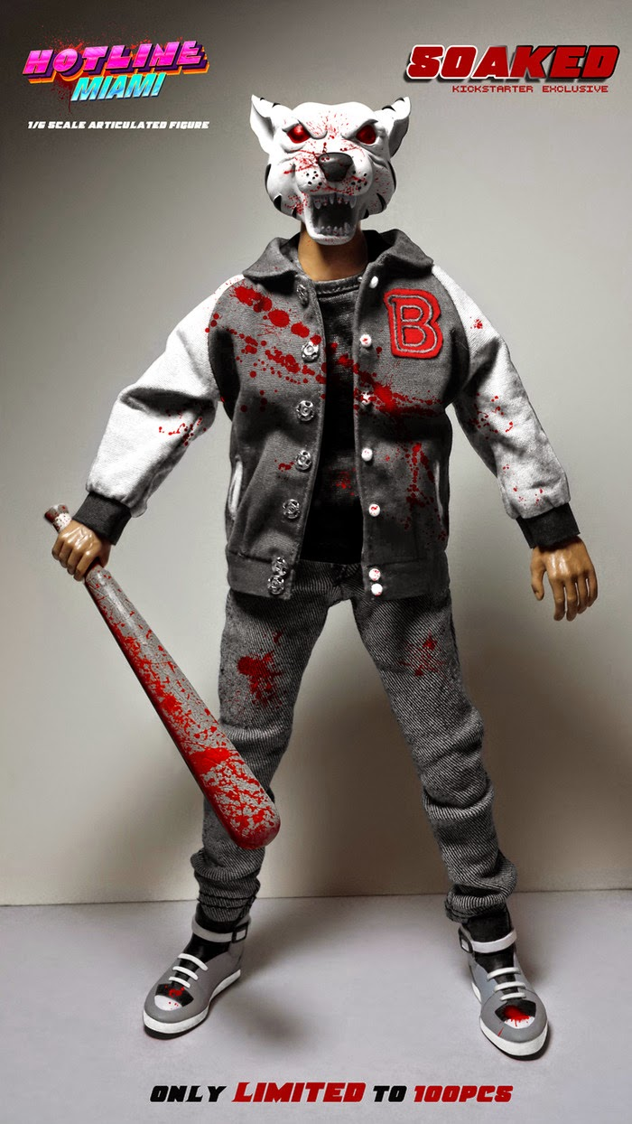 "Kickstarter Exclusive ""Soaked"" Edition Jacket Hotline Miami 1/6 Scale Articulated Figure by Erick Scarecrow"