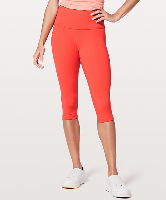 lululemon red-orange wunder-under-half-tight