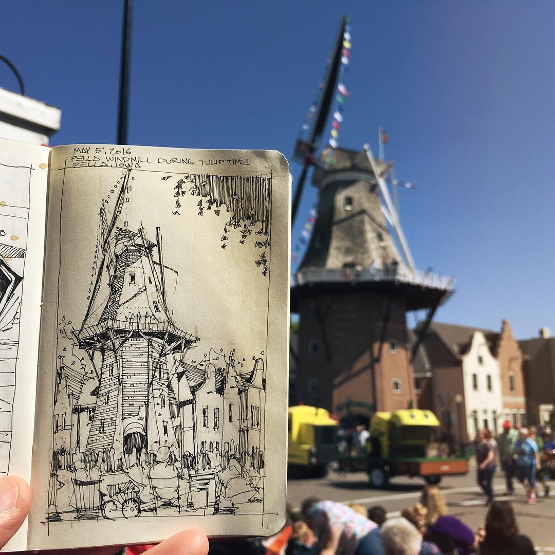 14-Windmill-Hanging-out-in-Pella-Josiah-Hanchett-Urban-Sketcher-taking-in-the-views-and-Drawing-them-www-designstack-co