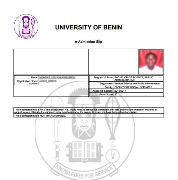 Uniben Admission Slip- Part-time