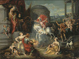 Feat of Marcus Curtius by Simon de Vos - Mythology, Religious Paintings from Hermitage Museum