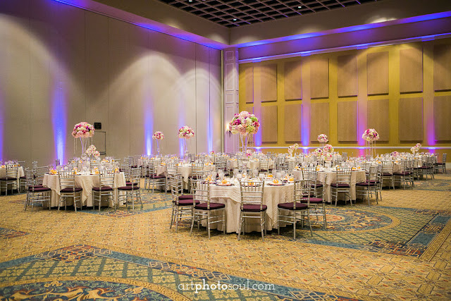 Wedding Reception  - Orlando - Real Wedding - Joie de Vie Wedding - Rosen Shingle Creek - Kirby - Purple - Atmospheres Floral