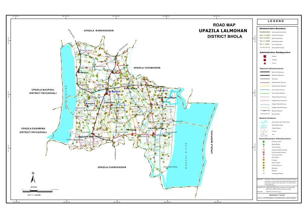 Lalmohan Upazila Road Map Bhola District Bangladesh