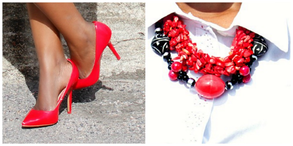 side by side picture of red pumps and red neck piece