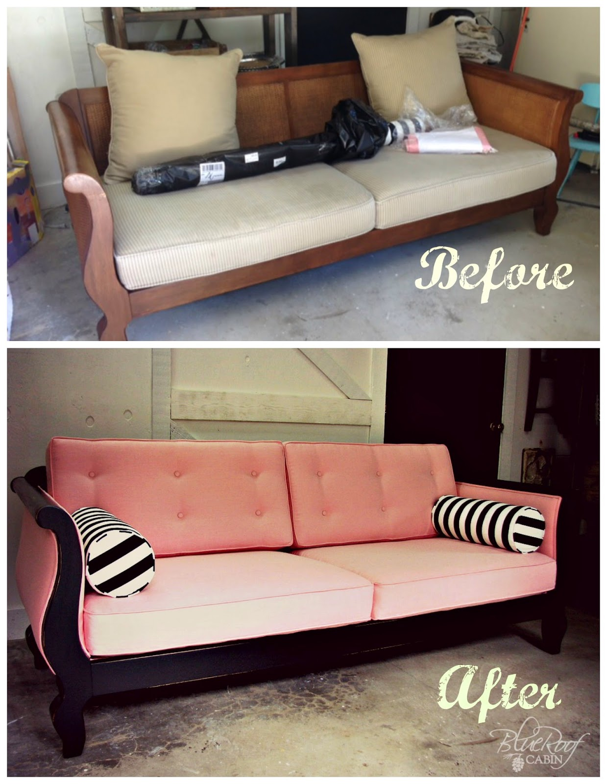 blue roof cabin Custom Upholstered Pink and Black Sofa