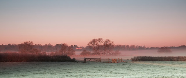 A Beautiful Frosty Sunrise over the sheep fields