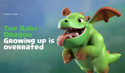 Rincian informasi data lengkap dan biaya upgrade Baby Dragon di COC