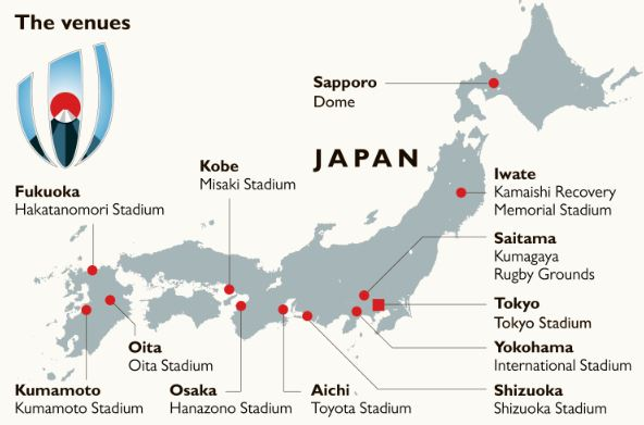 Rugby World Cup Japan 2019™ - Host Cities / Venues Map
