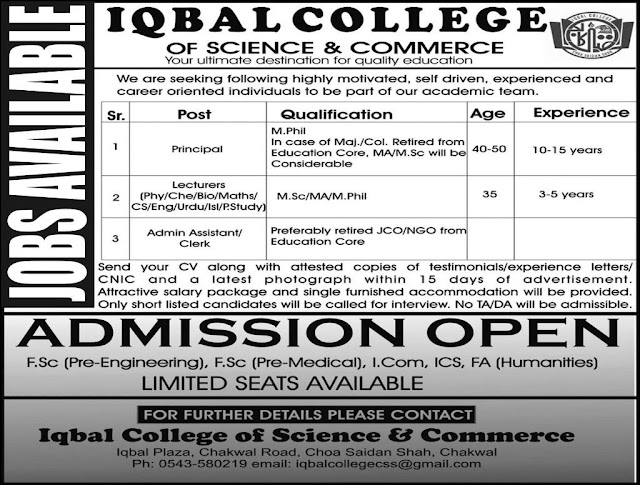 Lecturers Jobs in Iqbal College of Science & Commerce