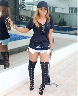 Linda Ikeji's Sister, Laura Ikeji Flaunts Hot Thighs As She Poses With Their Mom