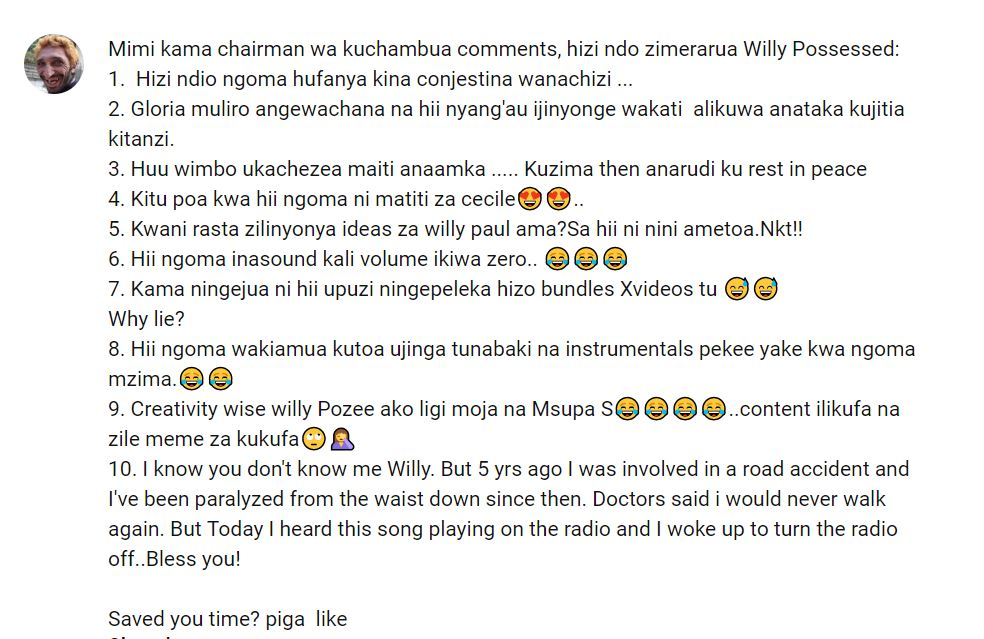 Willy Paul Song That Has More Dislikes Than Likes On YouTube