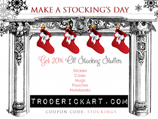 Coupon Code: Stockings 20% off Stickers Mugs Cases Pouches, Notebooks by artist Tom Roderick