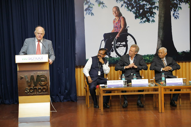 Consul General of Sweden in  Mumbai, Mr. Nils Eliasson expresses his views at the inauguration of Design for Dignity exhibition at WeSchool while Prof   Dr Uday Salunkhe, Group Director, WeSchool, Acting Consul General of Sweden in Mumbai Mr. Jan Campbell Westlind, and  Mr. S.K Jain, Chairman, LMC, WeSchool and Shikshana Prasaraka Mandali listen in rapt attention