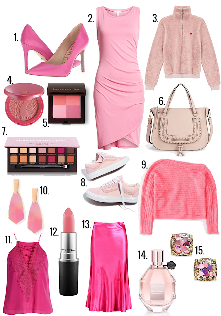 Pink is one of those colors that I rarely wear, but definitely gravitate towards for Valentine's Day. My favorite shade is an almost neon bubblegum pink that I especially love paired with red (see last year's Pink & Red V-Day Gift Guide)! There are so many beautiful shades of this color in stores right now that it's hard not to want to wear it every day of February. I've rounded up a few of my favorite rosy-hued pieces that would be perfect to wear on the day of love! #valentinesday #valentinesdayfashion