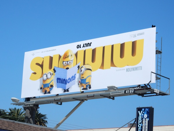 Minions upside-down logo billboard