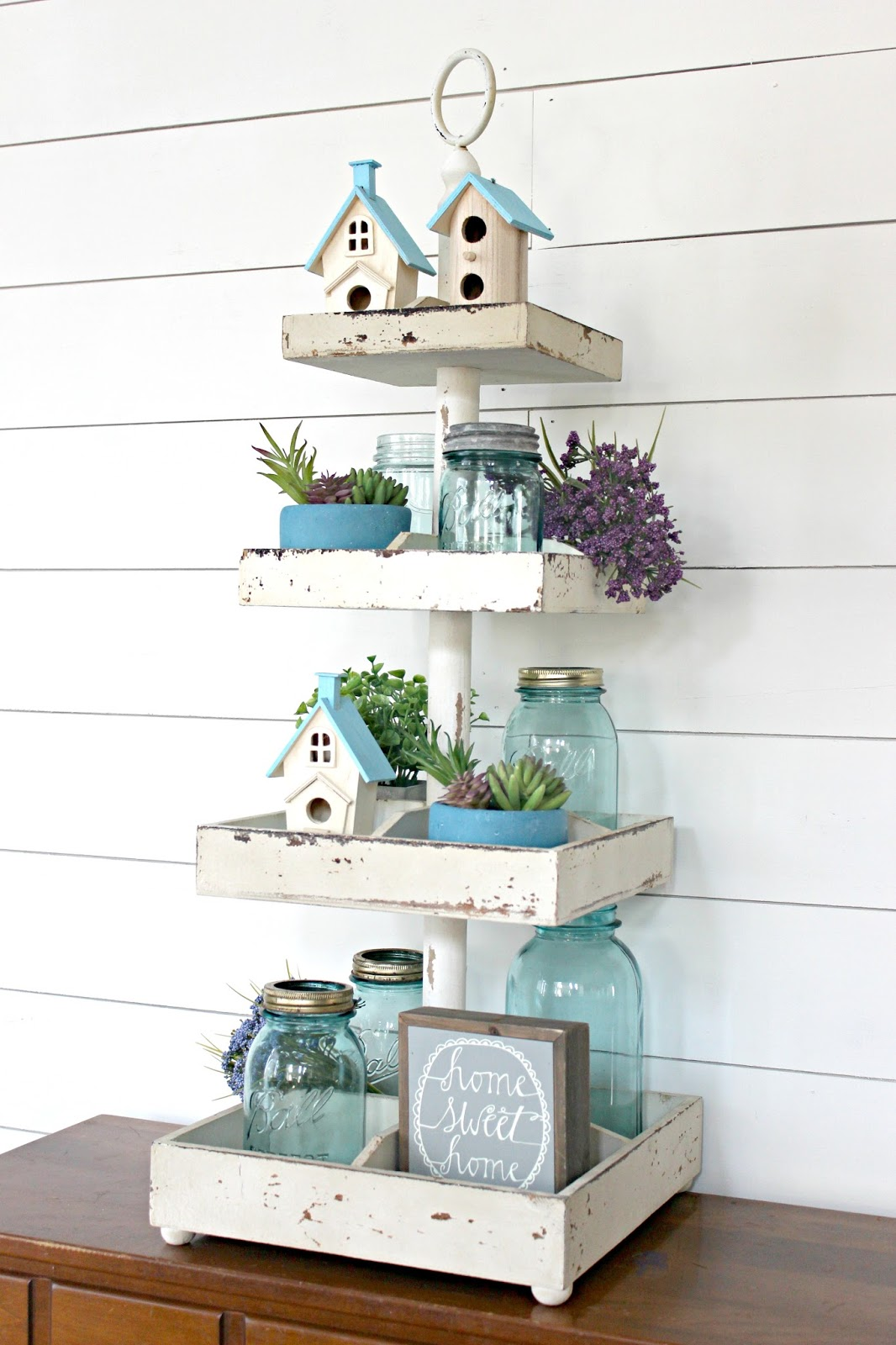 Easy Spring Decorating Idea Tiered Tray Decor