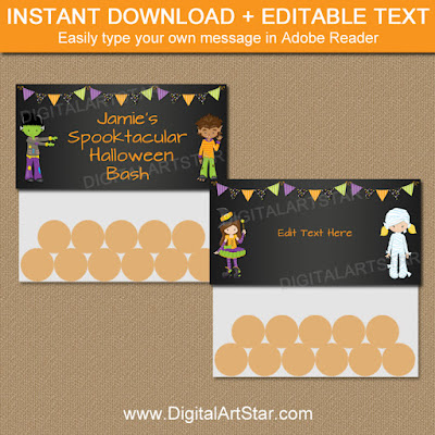 kids halloween bag toppers with editable text